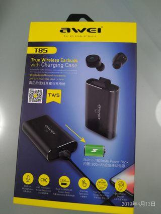 Awei T85 V5 全黑色無線藍牙耳機,配合外置充電器 (全新有保養)