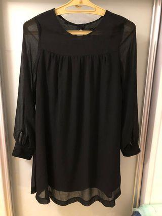 H&M black loosely fit chiffon dress