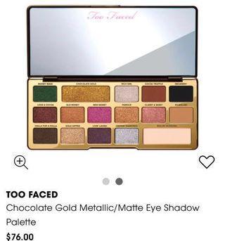 🚚 Toofaced Chocolate Gold Metallic/Matte Eye Shadow Palette