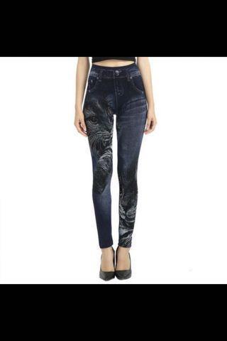 Cat-printed Jeans/Leggings
