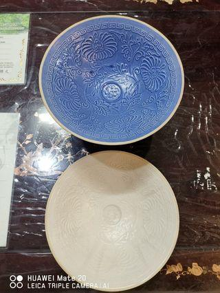 Chinese porcelain textured (floral) bowl. 2 pcs