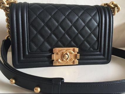 Chanel Boy Small Aged Gold Hardware Black Caviar