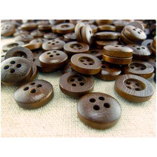 WB12010 - 13mm mini wood button, wooden buttons (10 pieces)  #craft