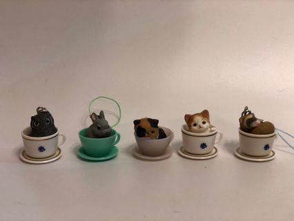 杯中貓 兔 貓頭鷹 Cup's cats key ring 匙扣
