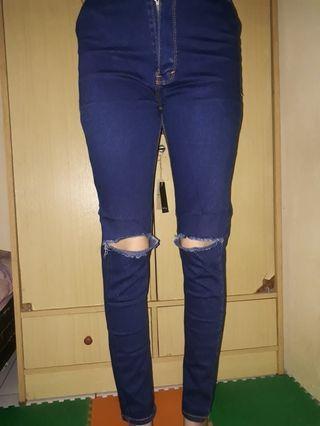 Celana jeans hw navy robek lutut