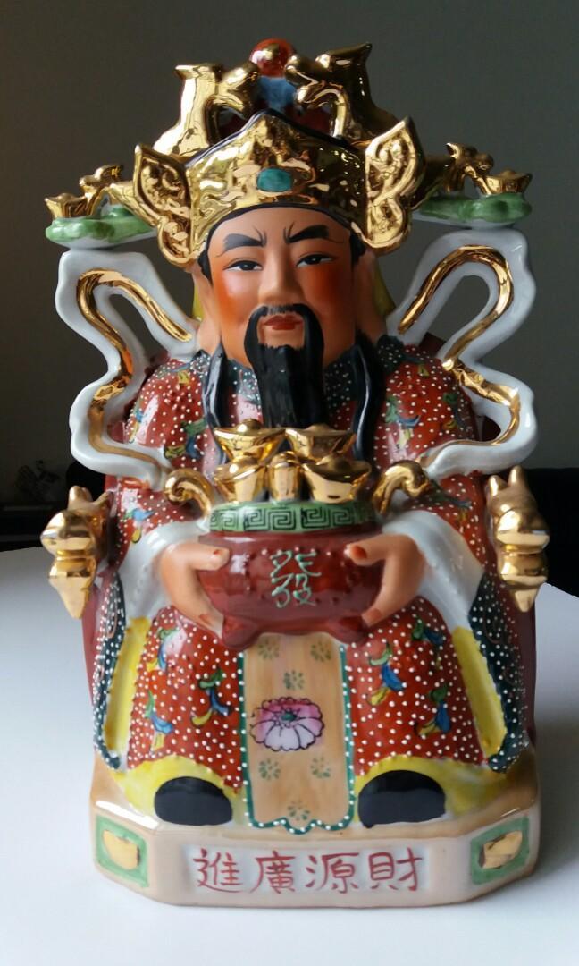 招睇財神 God of wealth 約30cm高 20cm闊 陶瓷porcelain figure