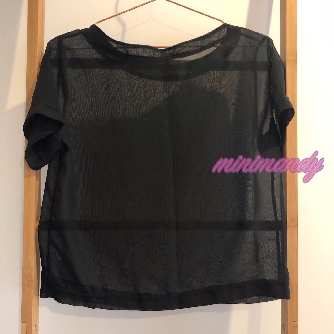 American Apparel black basic mesh top see through tee chiffon cropped T-shirt AA