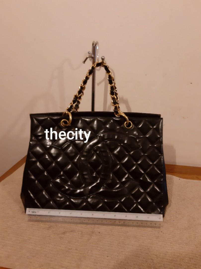 AUTHENTIC CHANEL GST (GRAND SHOPPING TOTE) - VINTAGE - IN SHINY BLACK PATENT LEATHER