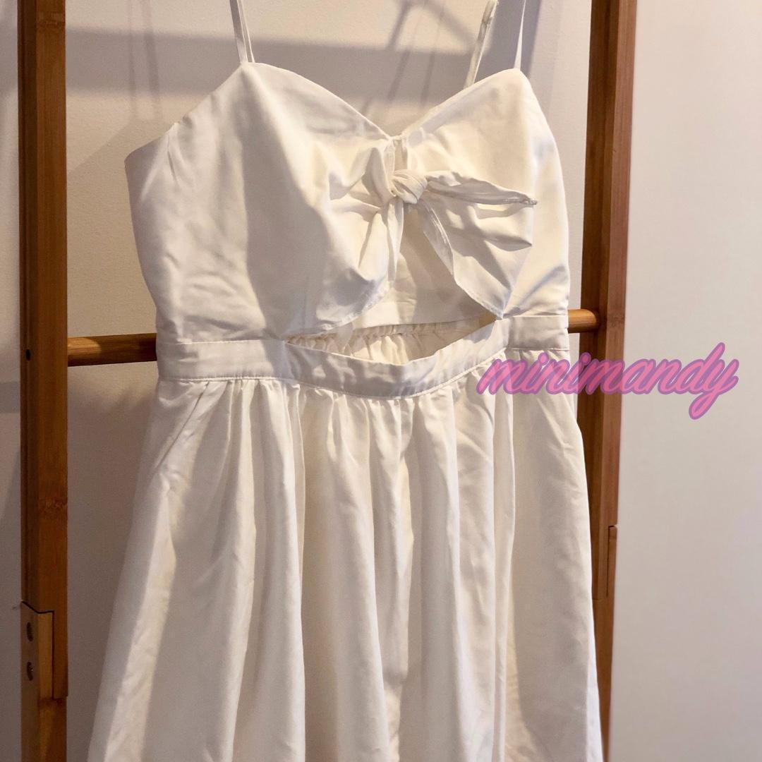 Bardot  A line bow front hallow skater little white dress summer beach party