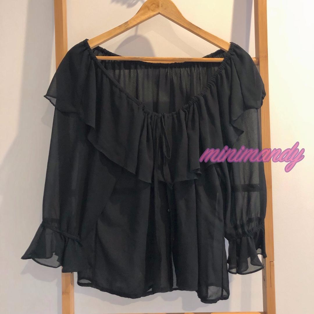 BOHO women vintage black chiffon ruffle blouse LS drawstring frill top boat neck