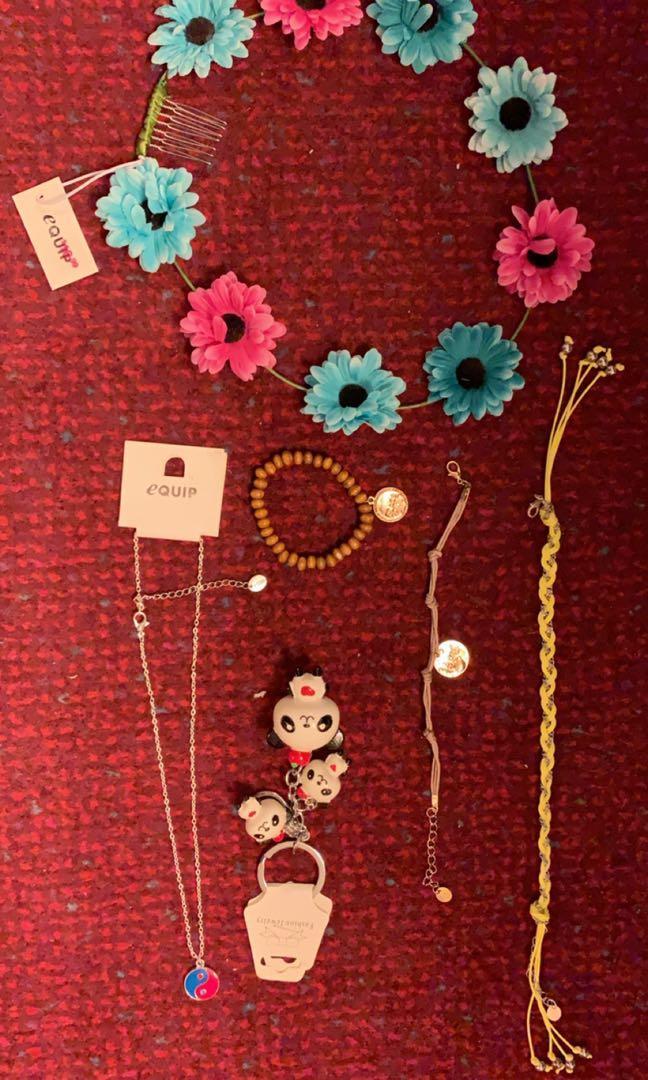 *bundle mix* bracelet necklace key ring flower crown