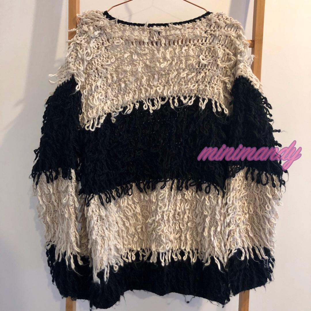 COTTON ON black and white striped knitted coat cardigan jacket stripes fur knit