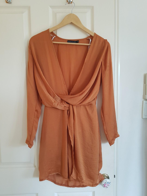 Deep Orange Plunge Dress Size 6/XS