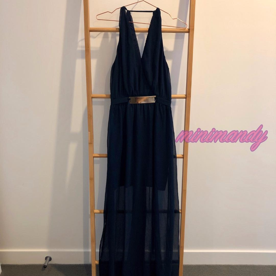 Dotti V neck navy blue chiffon maxi dress sleeveless gold belt party wedding