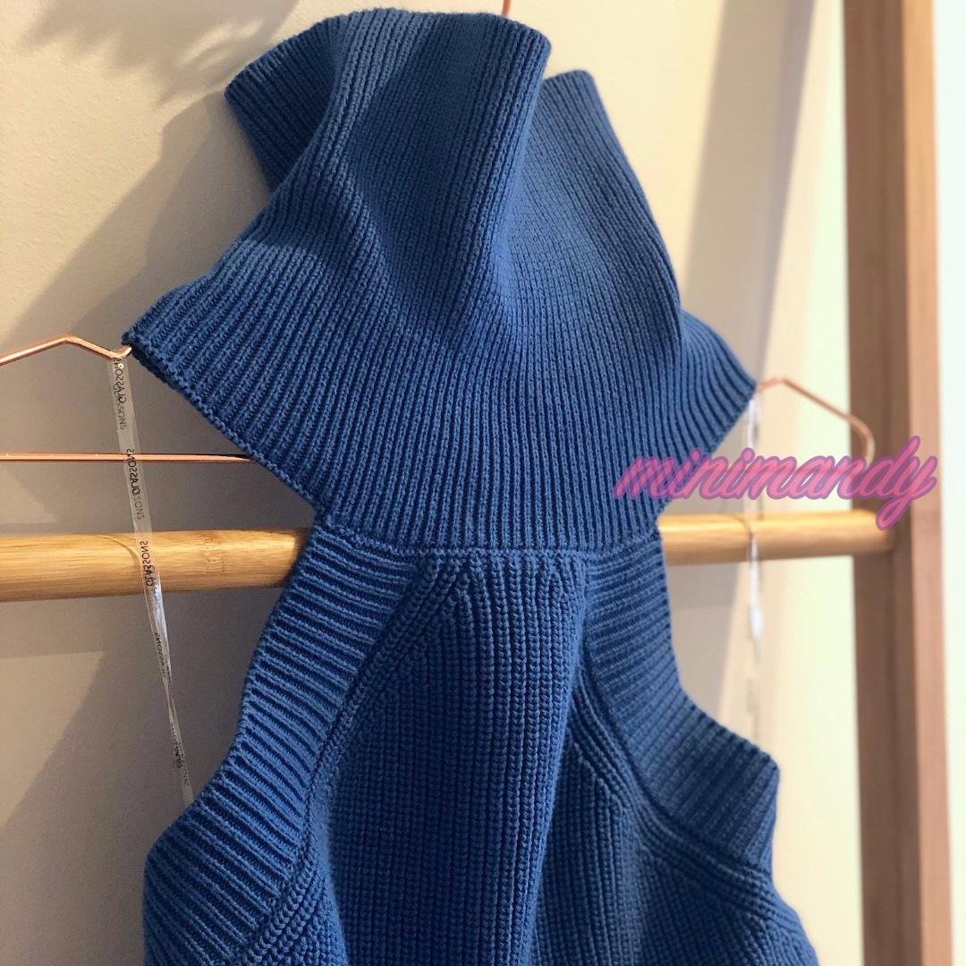 GLASSONS blue sleeveless backless highneck jumper halter pullover cable knit top