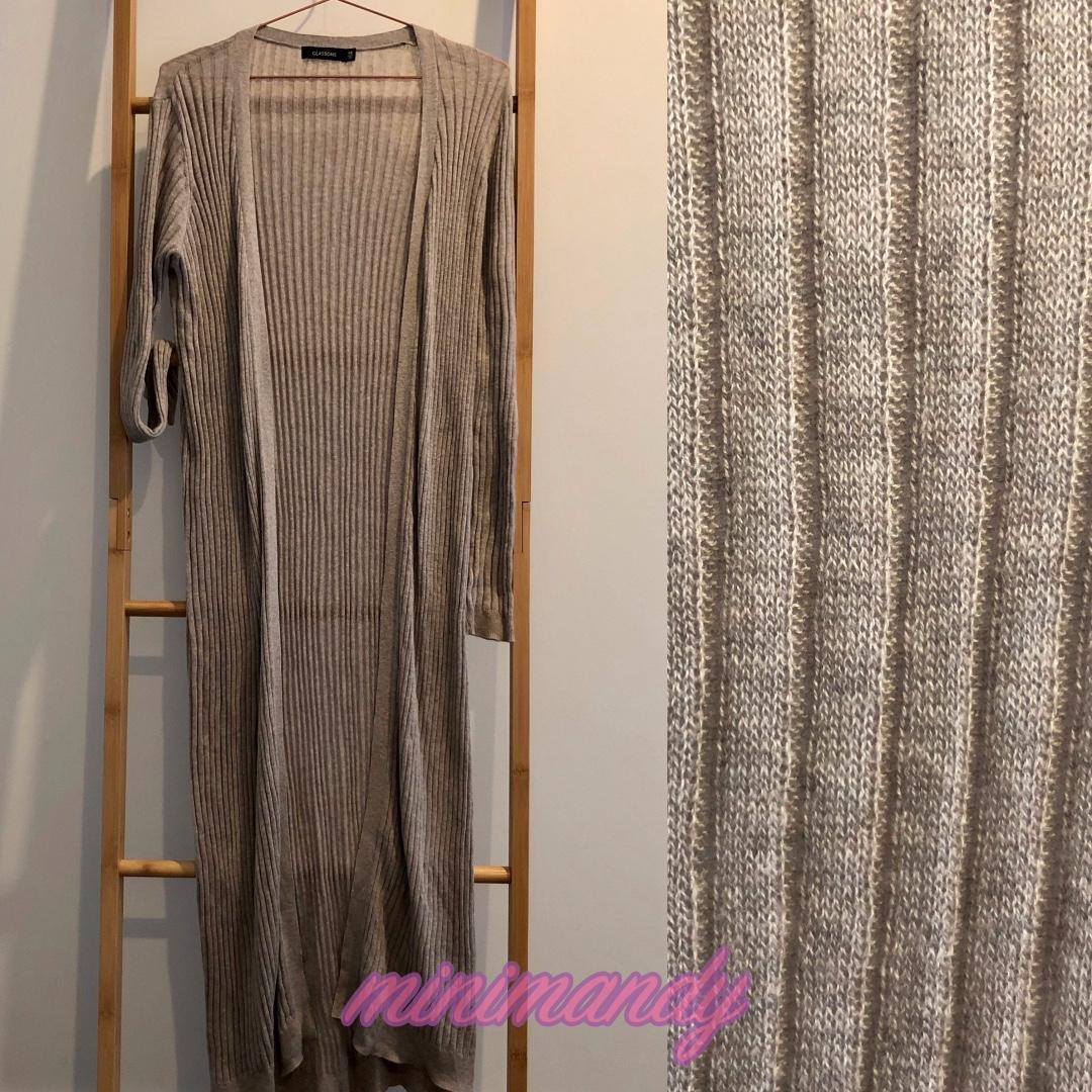 GLASSONS nude cream beige taupe sand knit maxi cardigan LS coat size XS #SundayMarket