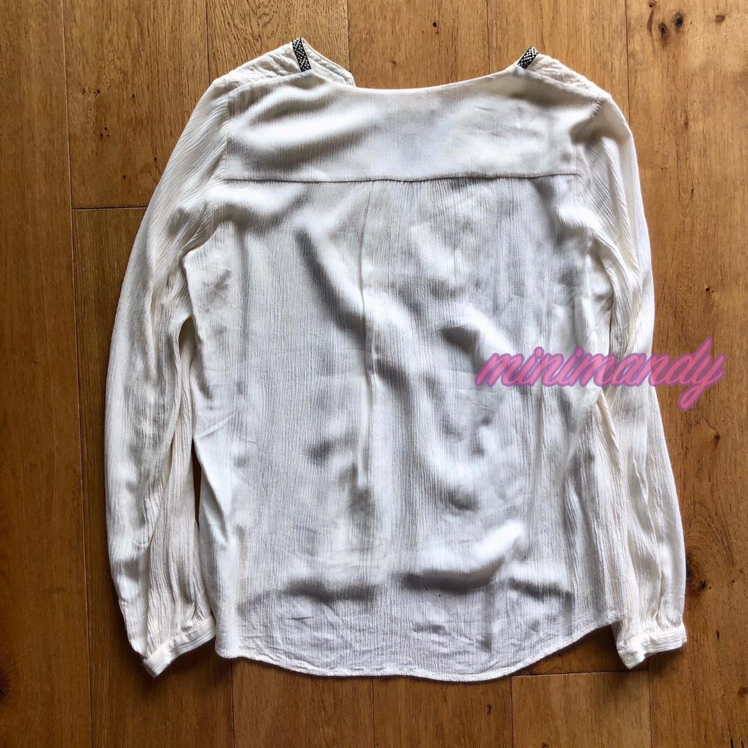 H&M Embroidered boho pattern print cream top beige white size 34 #SundayMarket