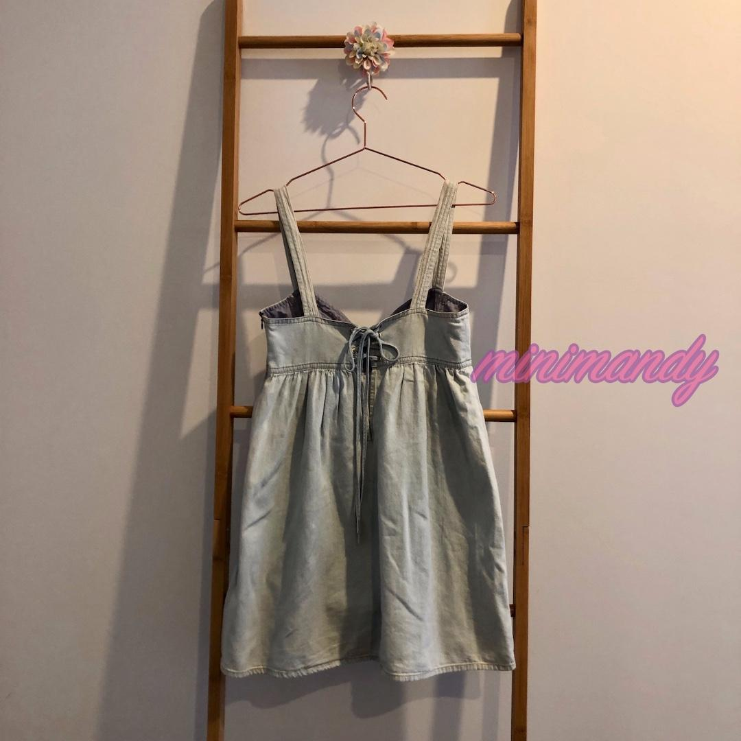Japan blue denim mini dress babydoll corset high waist pocket tie back festival party