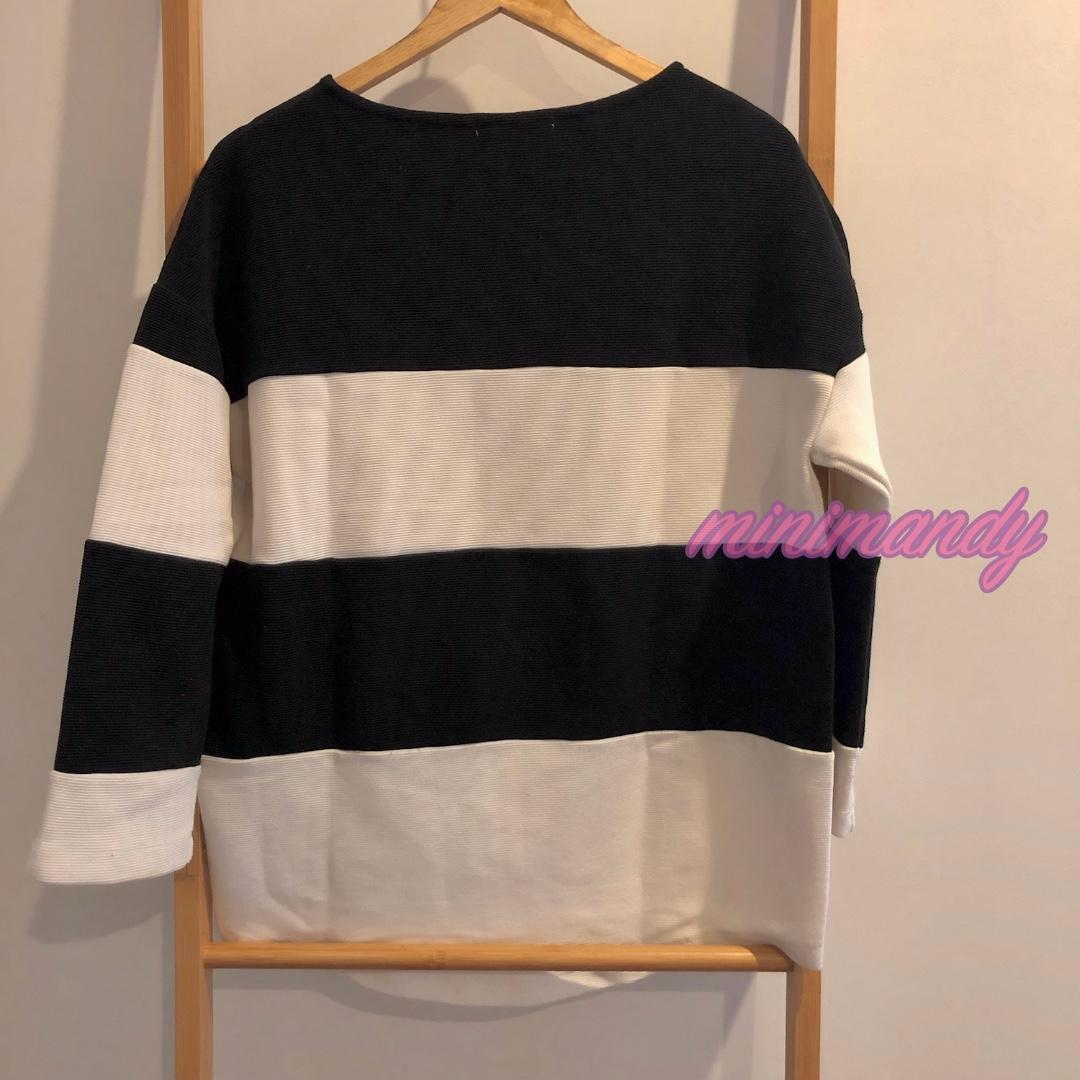 Japan LOWRYS FARM black and white striped oversize LS top stripes rib tee loose fit