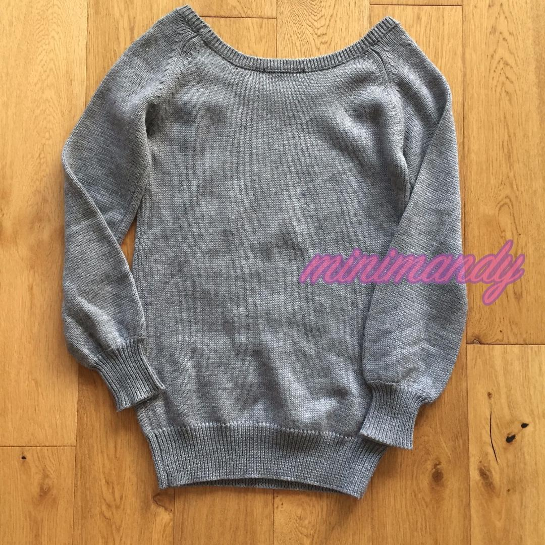 Japan Moussy bell sleeves grey jumper knitted sweater dress knit pullover scoop