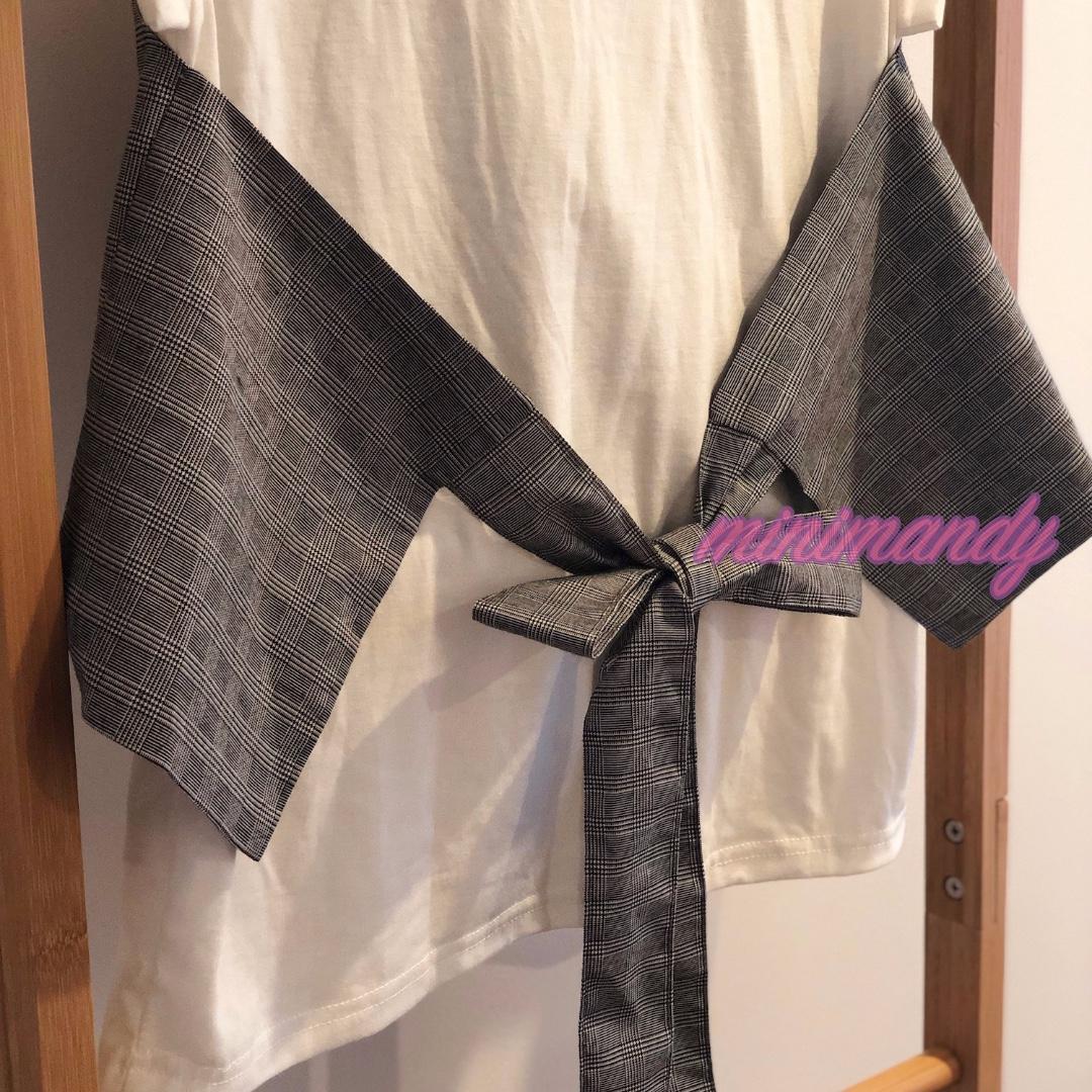 Japan RETRO GIRL grey checked kimono top bow back tee white T-shirt cap sleeves