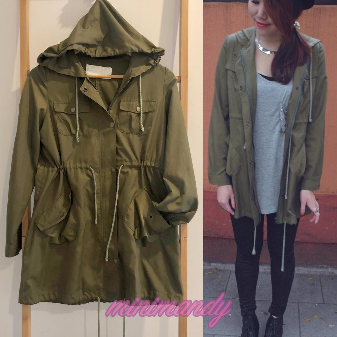 Japan Romantic Standard military khaki green hooded drawstring parka jacket