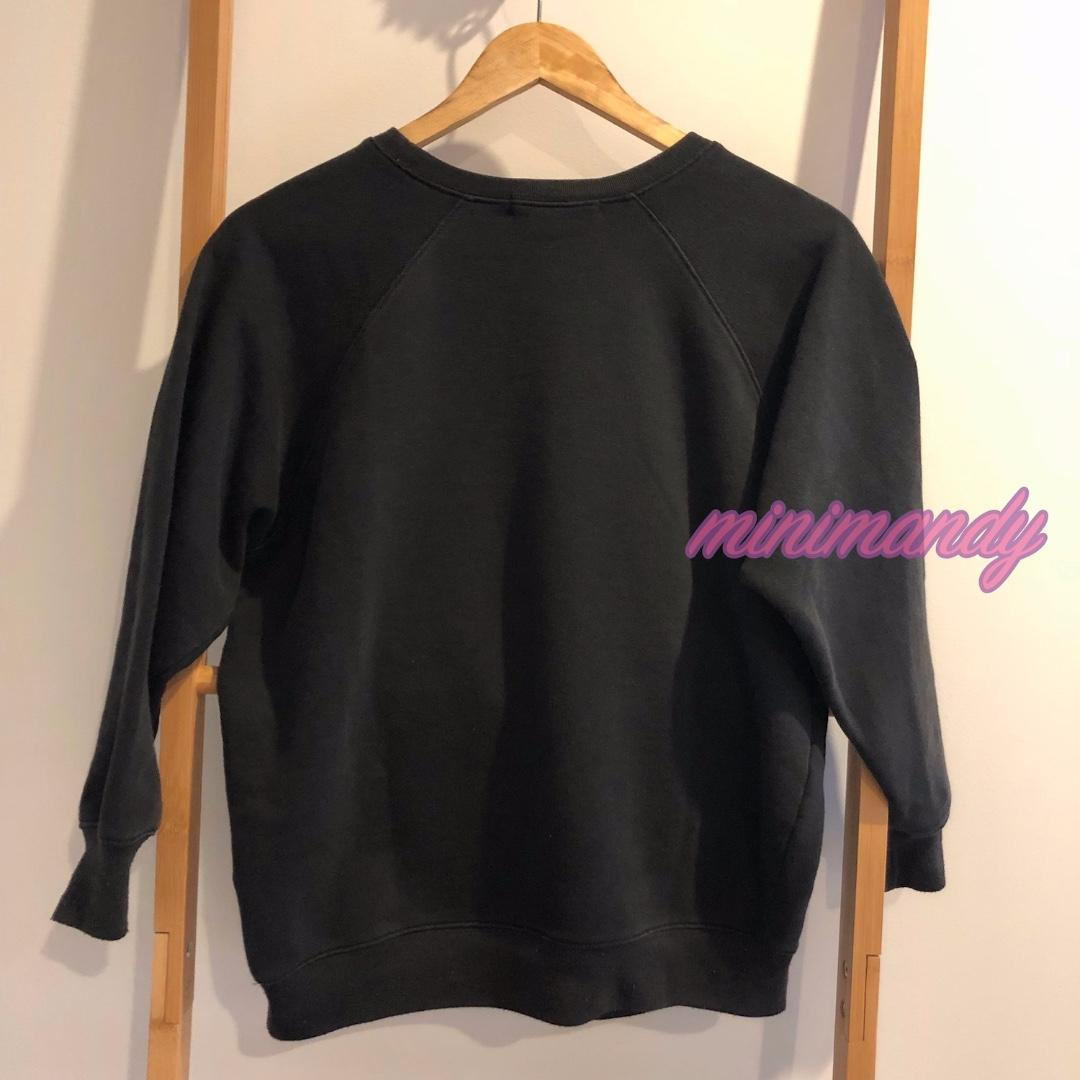 Japan WEGO women vintage black LS sweatshirt lady graphic tee cotton top size M