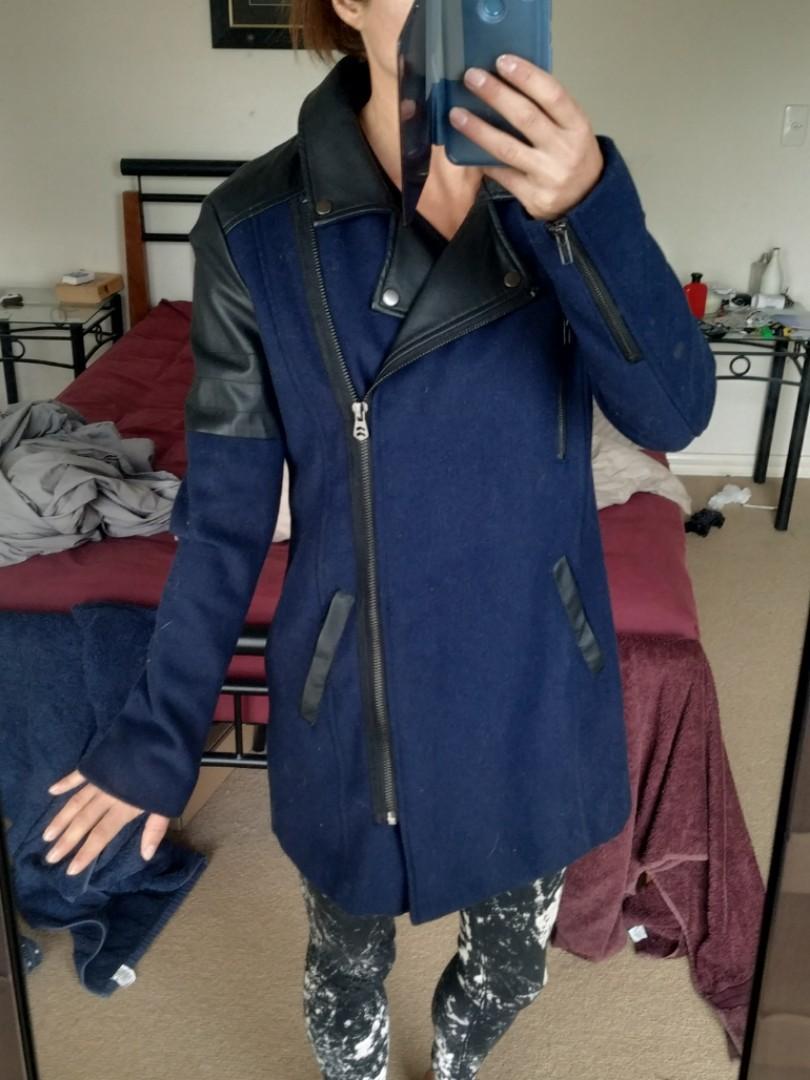 Justaddsugar Navy blue and black long motobiker biker faux leather & wool jacket 10