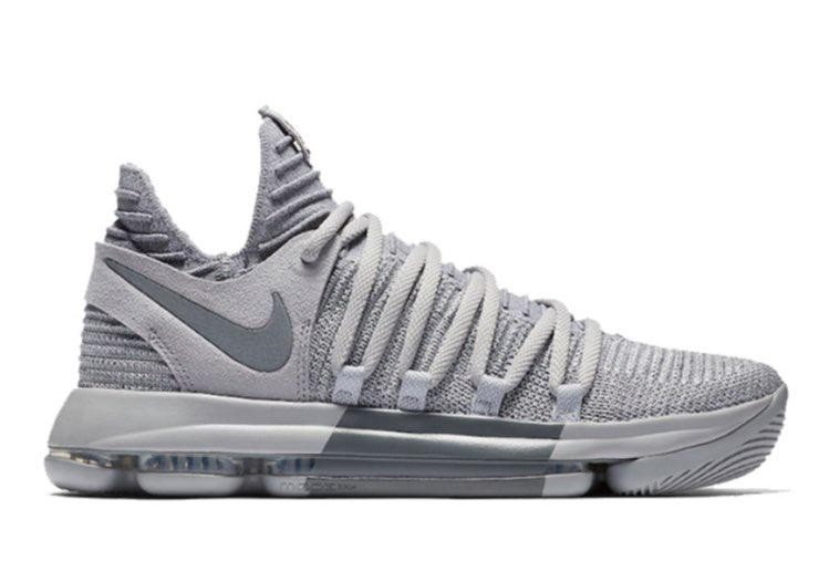 b38d5f64e5bf KD 10 Wolf Grey Junior Basketball Shoes
