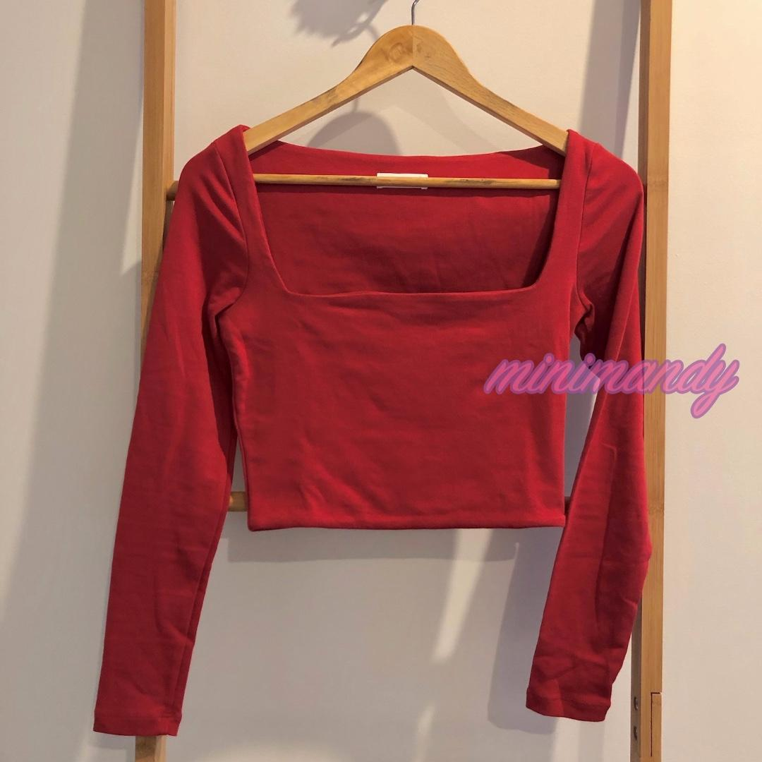 KOOKAI basic red square neck crop top cotton long sleeves tee size 2