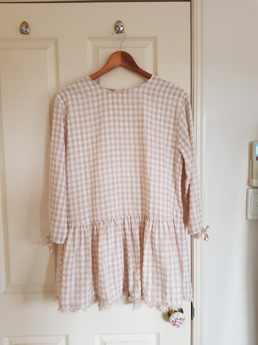 Light Gingham Shift Dress Size 6/XS