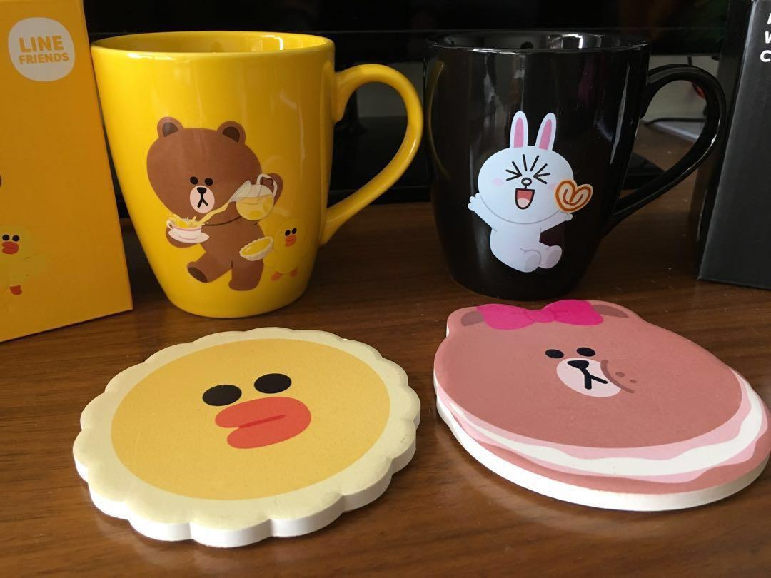 Line friends mug 情侶 杯 (Brown熊大+Cony兔兔)