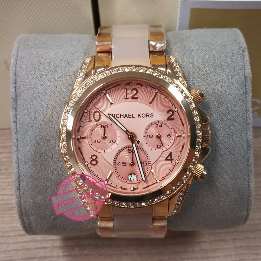 aff0fab4d Michael Kors Blair Chronograph Rose Dial Rose Gold-tone and Acetate Ladies  Watch #MK5943, Women's Fashion, Watches on Carousell