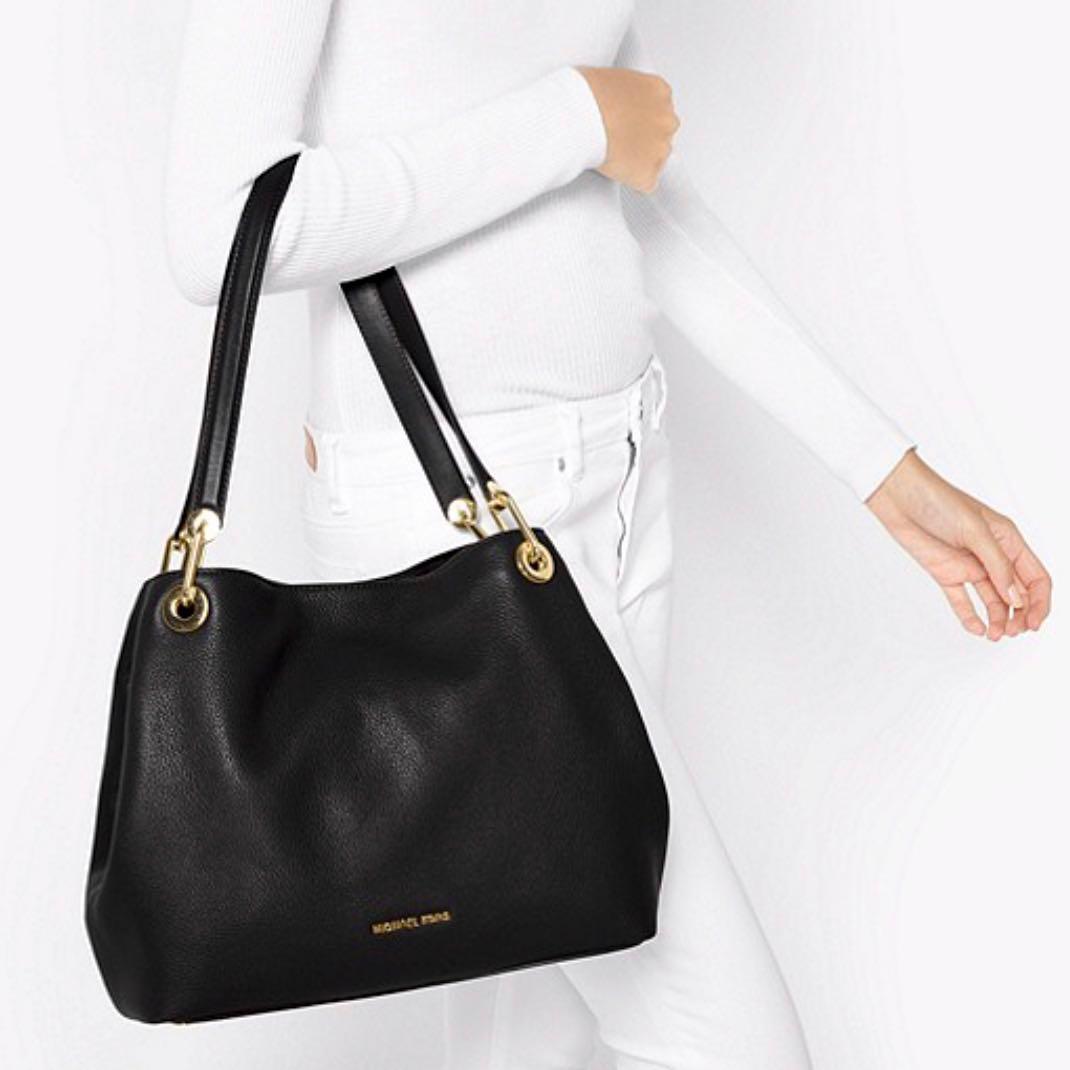 f6dd48c2d3e Michael Kors Raven Leather Shoulder Bag