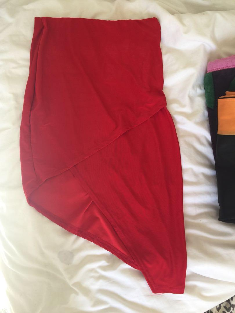 Missguided Red Skirt Size 6
