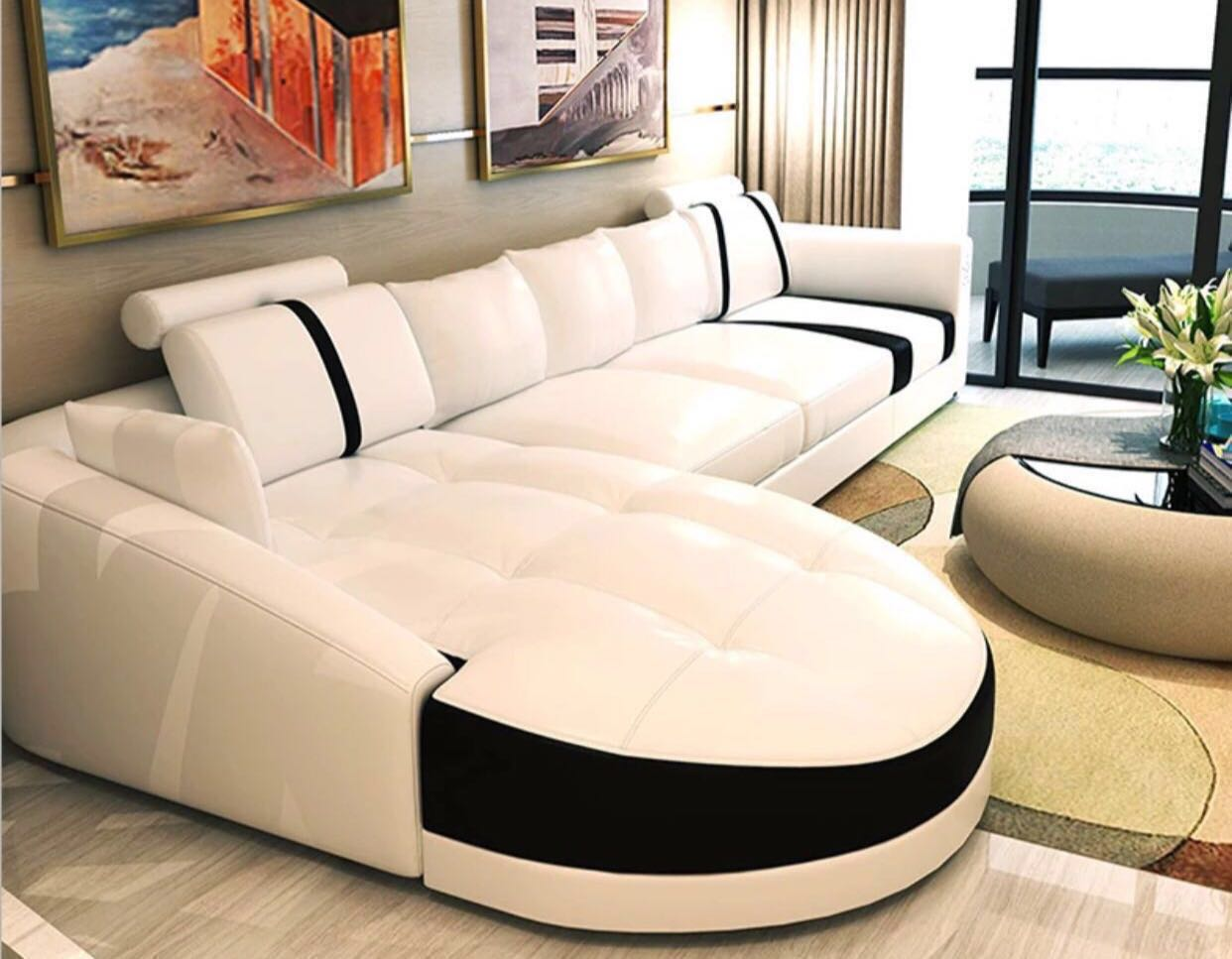 Modern Genuine Leather L Shape Sofa Set Furniture Sofas On Carousell