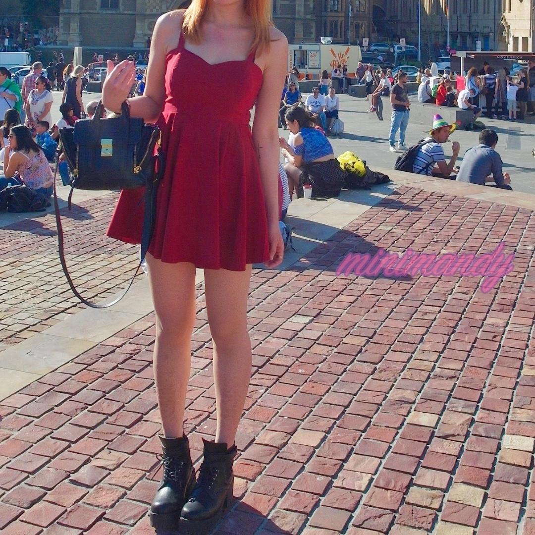 MOOLOOLA high waist hallow back A line red skater mini dress party wedding