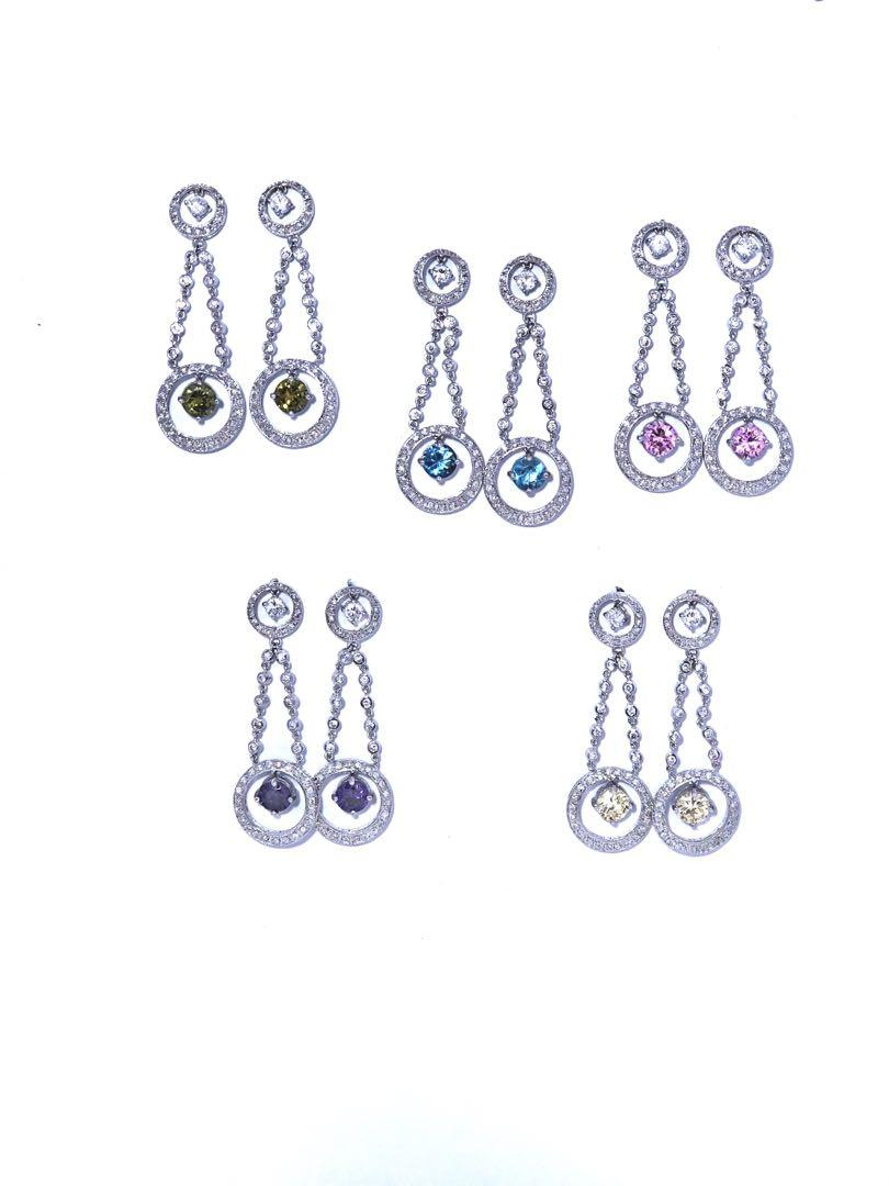 MyJewellery Earrings 925 Sterling Silver - White, Purple, Ocean Blue, Green, Pink, Brown, Aqua, Light Purple, Yellow