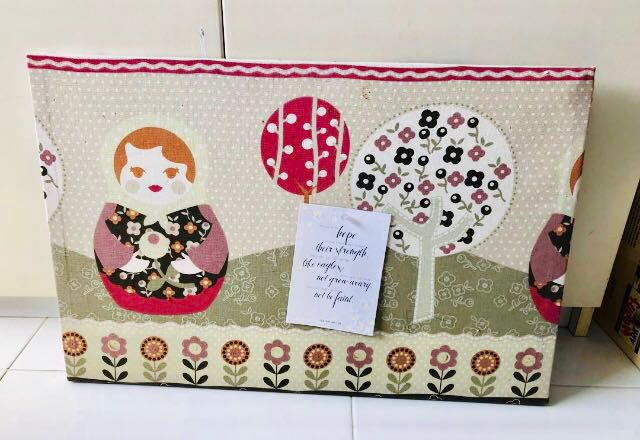 Pin up board wrapped with fabric