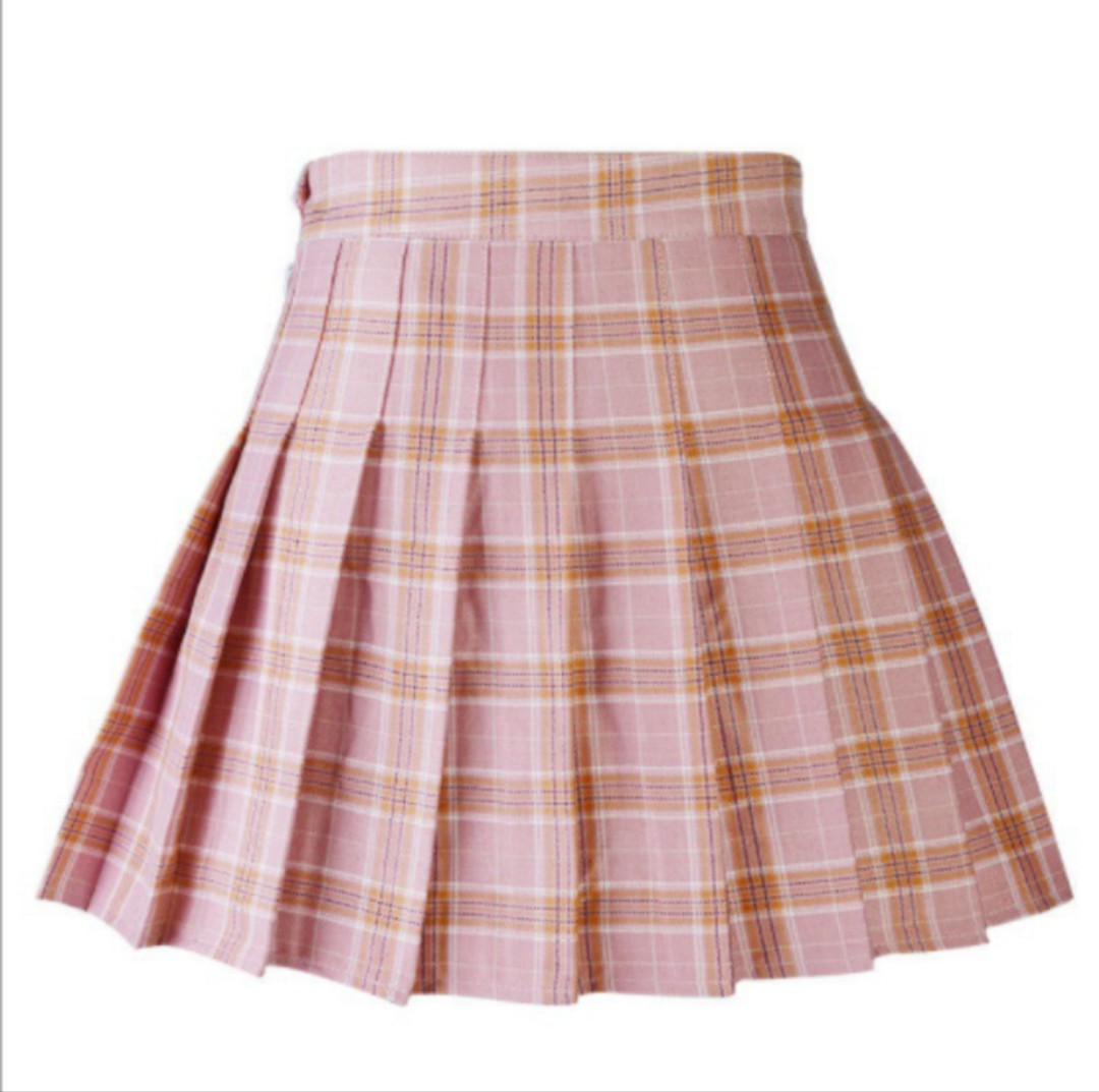 20f83f732e3 Pink Checkered Pleated Skirt