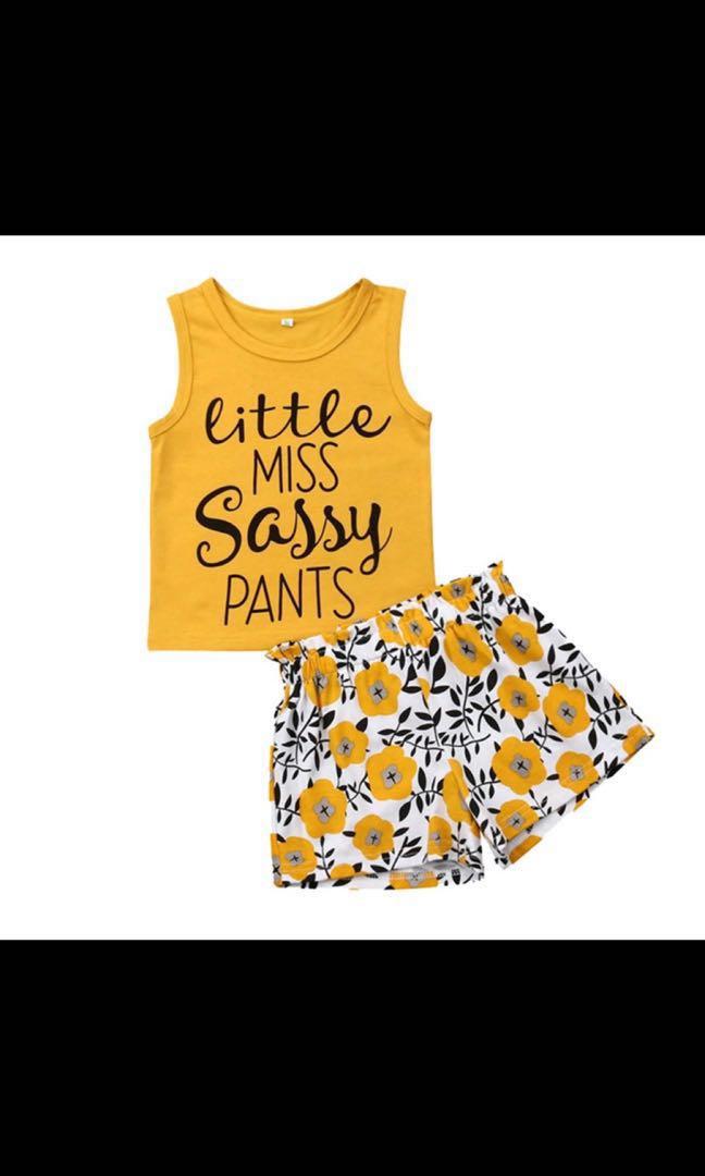 603233e36c111 (PO) (18M-4Y) Summer Toddler Kids Girl Sleeveless Letter Print Top, Print  Flower Pants 2Pcs Clothing Set