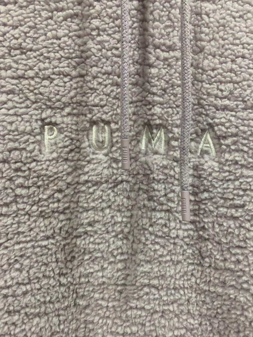 Puma plus size hoodie soft touch 羊羔毛材質 紫色 帽踢