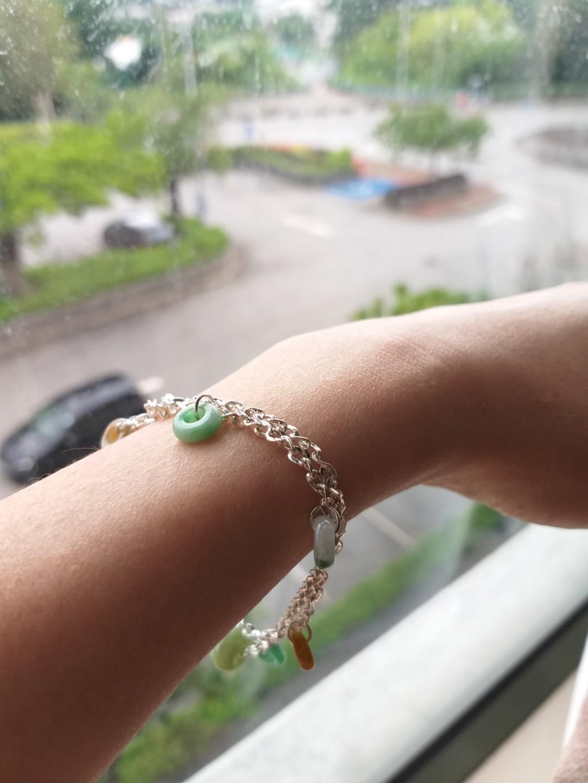 Pure Silver with real jade bracelet 紋銀翡翠圈手鏈