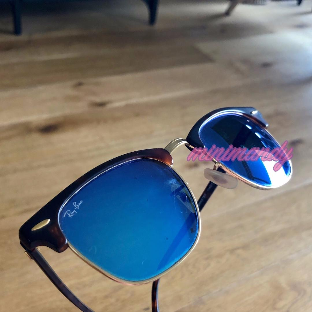 RayBan classic style Clubmaster sunglasses sunnies blue flash lenses mirrored