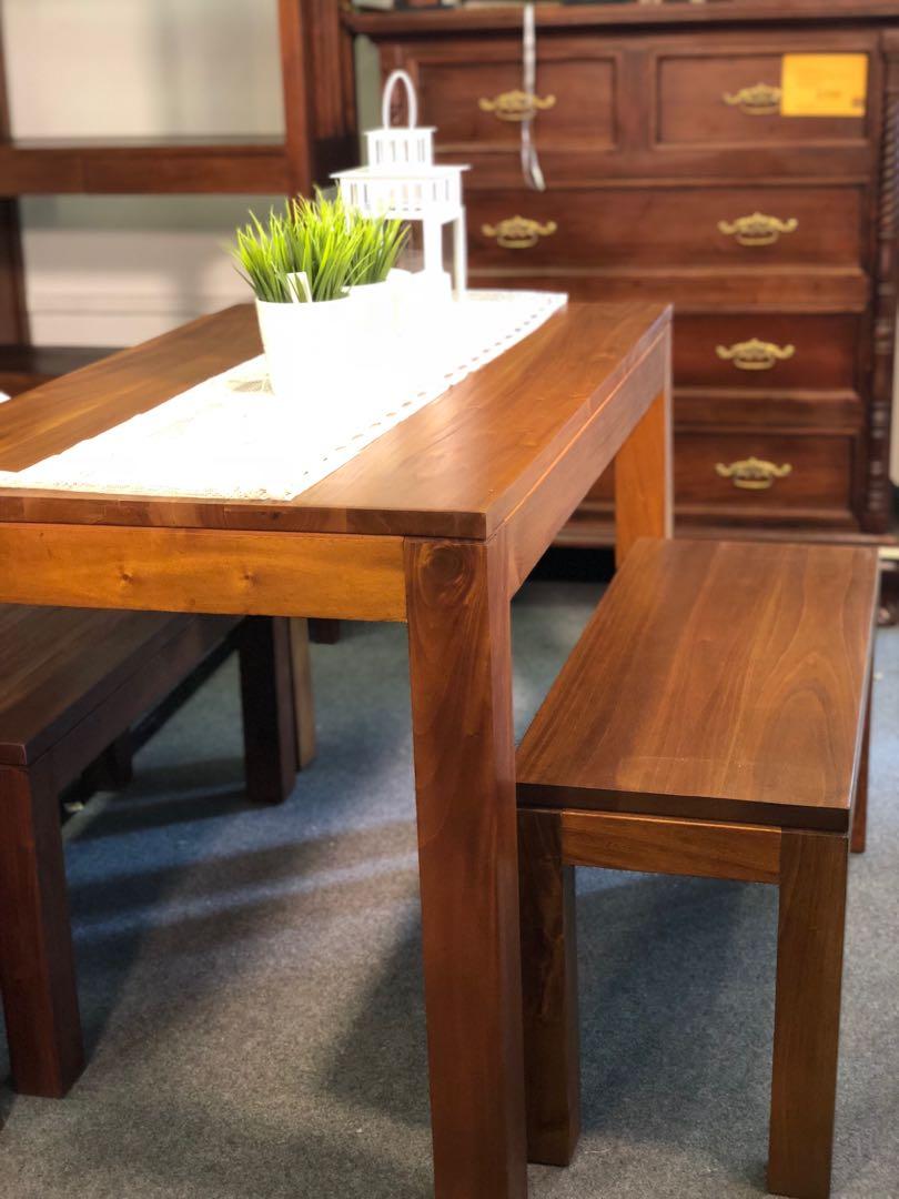 Teak Dining Table 2 Bench Soilid Wood 50 Off Teakco
