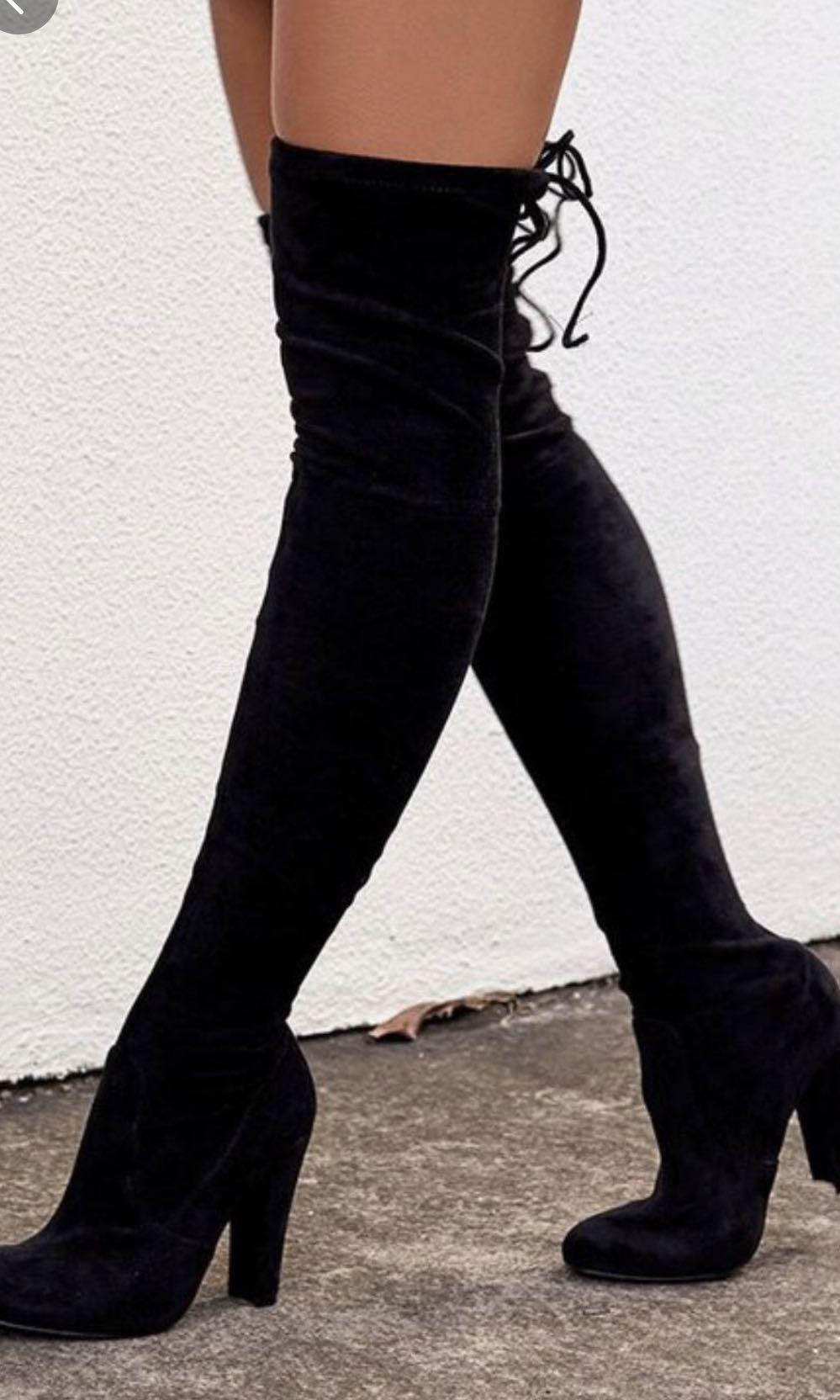Scarlet knee high boots