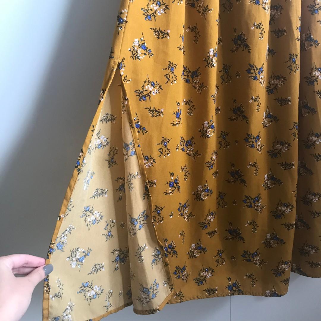 TEMT Valleygirl Off-Shoulder Floral Yellow Summer Maxi Dress (Size 10)