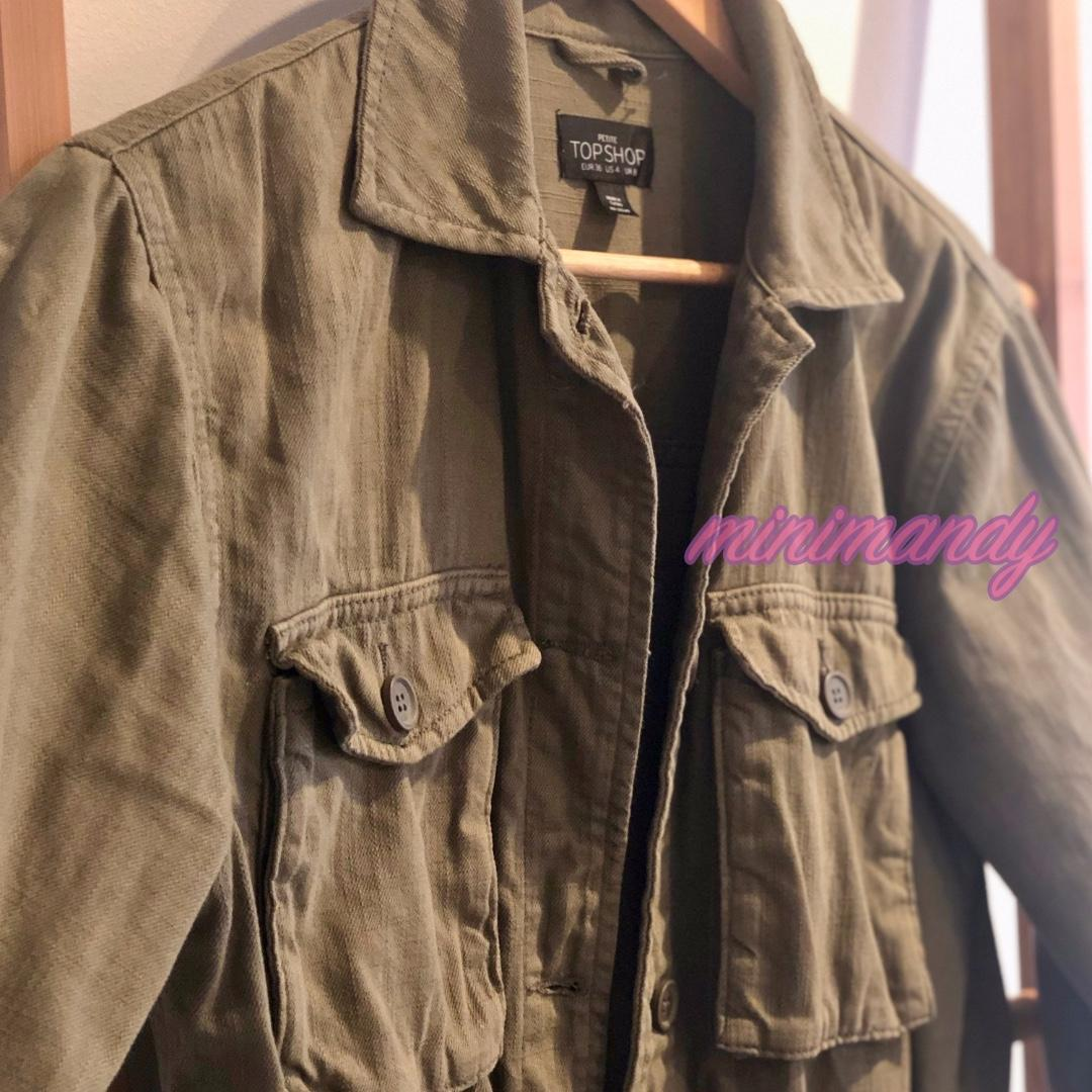 TOPSHOP military khaki green button shirt jacket cotton outwear pockets PETITE