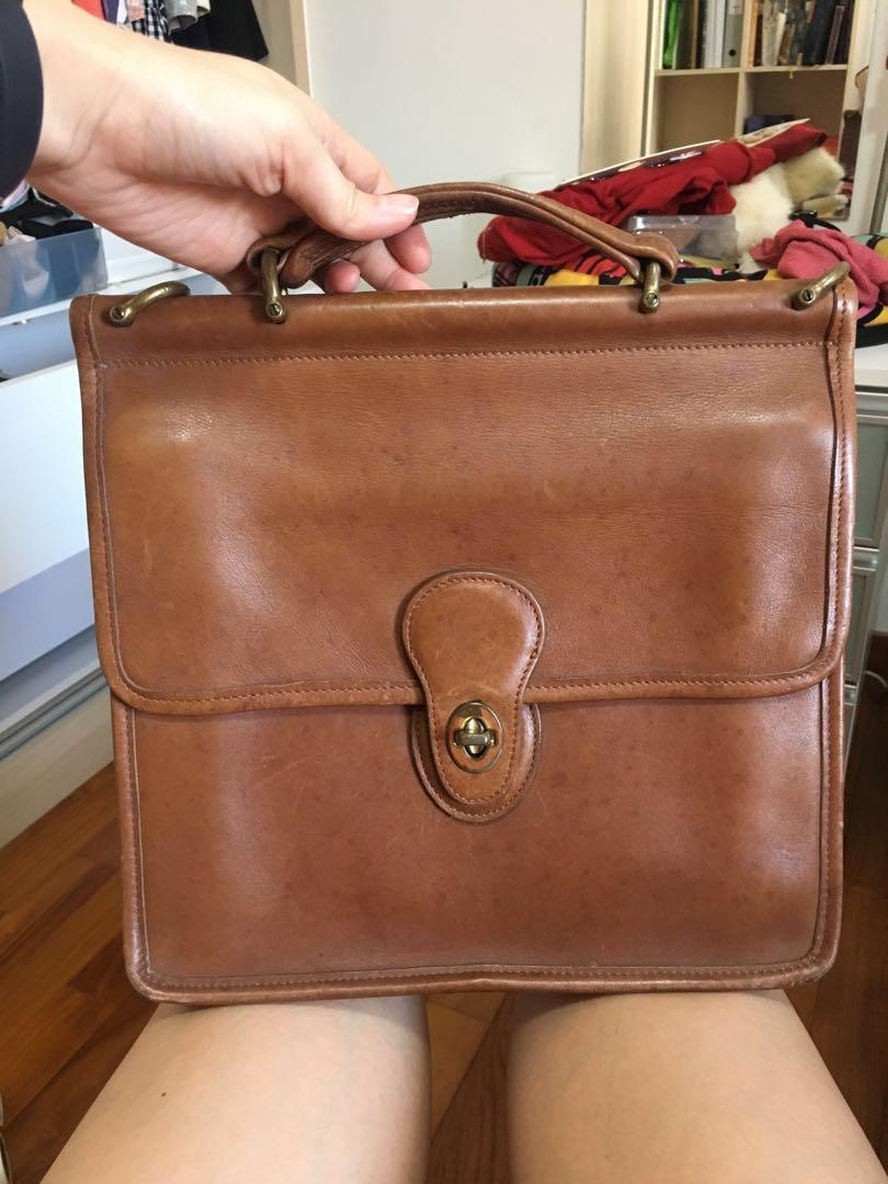 VINTAGE COACH GENUINE FULL LEATHER SQUARE BRIEFCASE