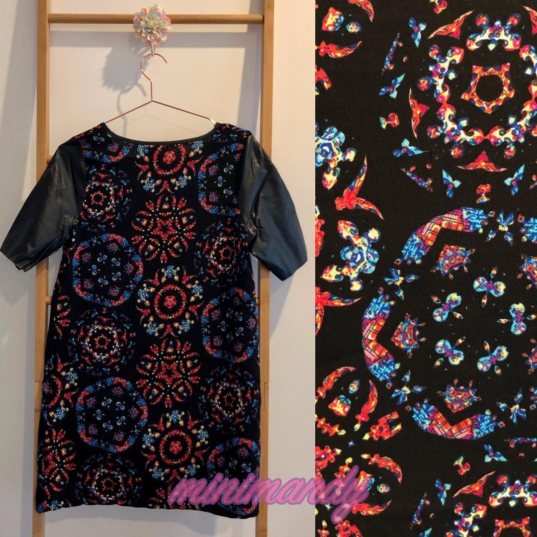Vintage Retro floral print shift dress black leather sleeves size M #SundayMarket